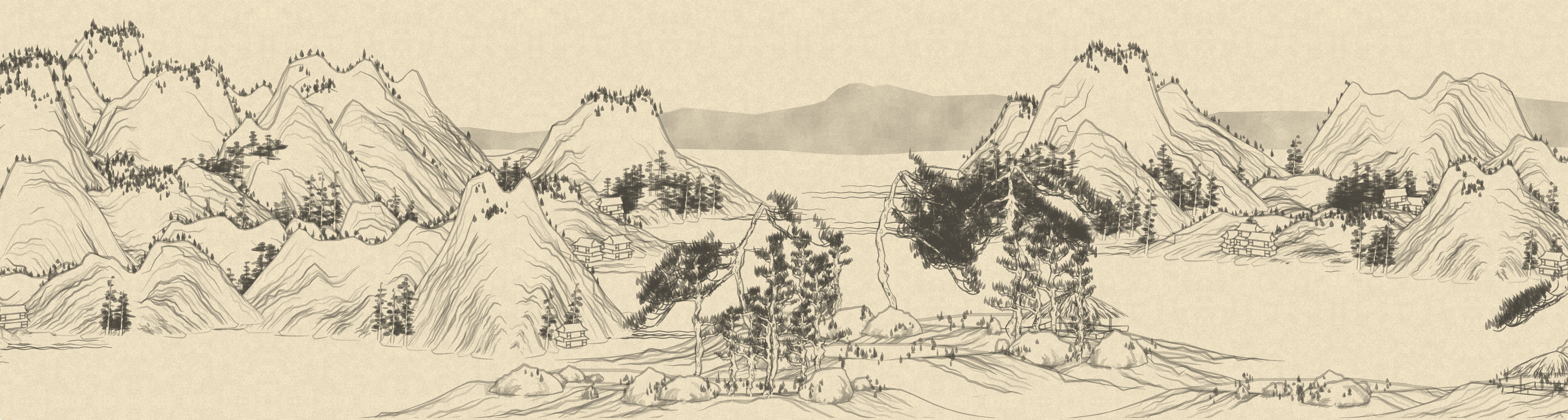 Procedurally generated Chinese landscape painting
